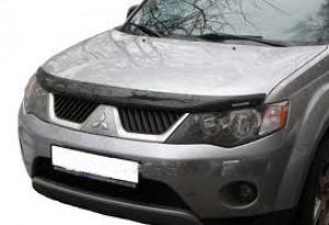 Mitsubishi Outlander 2007-2009 - Дефлектор капота, темный, с надписью, EGR фото, цена