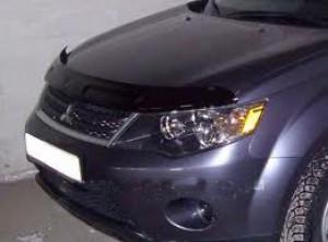 Mitsubishi Outlander 2007-2009 - Дефлектор капота, темный, широкий, с надписью, EGR фото, цена