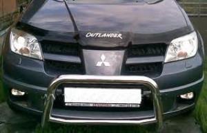 Mitsubishi Outlander 2003-2006 - Дефлектор капота, темный, с надписью, EGR фото, цена