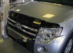 Mitsubishi Pajero 2007-2012 - Дефлектор капота, темный, широкий, EGR фото, цена