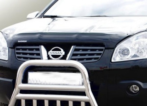 Nissan Qashqai 2007-2009 - Дефлектор капота, темный, с надписью, EGR фото, цена