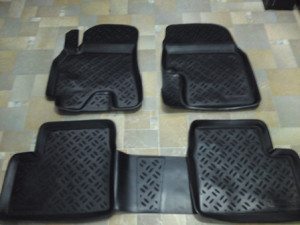 Toyota Land Cruiser Prado 2003-2008 - Коврики резиновые, черные, комплект 4 штуки. (Eleron) фото, цена