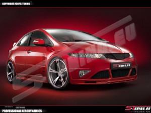 Honda Civic 2007-2013 - (H/B) - Пороги аэродинамические, комплект 2 штуки, UA фото, цена