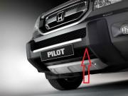 Honda Pilot 2009-2013 - Защита переднего бампера, пластик, черная c хром накладкой. Honda. (Европейский стиль). фото, цена