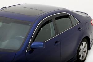 Toyota Camry 2006-2011 - Дефлекторы окон с хромированным молдингом, черные, к-т 4 шт.(China) фото, цена