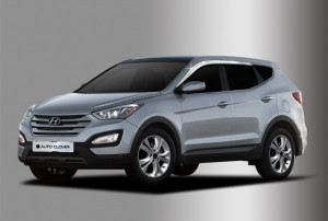 Hyundai Santa Fe 2012-2015 - Дефлекторы окон (ветровики), комплект, хромированные. (Clover) фото, цена