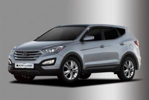 Hyundai Santa Fe 2012-2015 - Дефлекторы окон (ветровики), комплект из 4 шт. (Clover) фото, цена