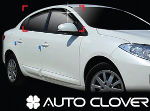 Renault Fluence 2009-2011 - Дефлекторы окон (ветровики), комлект 4 шт. (Clover) фото, цена
