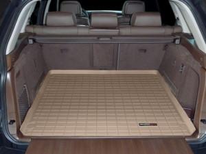 BMW X5 2007-2013 - (5 мест) Коврик резиновый в багажник, бежевый. (WeatherTech) фото, цена
