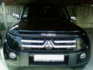 Mitsubishi Pajero 2007-2013 - Защита передних фар, темная. (SIM) фото, цена