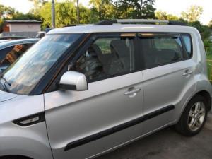 Kia Soul 2008-2012 - Дефлекторы окон (ветровики),ребристые,  комплект. (Clover) фото, цена