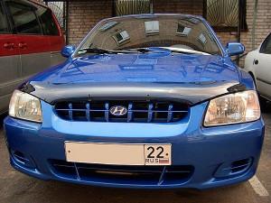 Hyundai Accent 1999-2003 - Дефлектор капота (мухобойка), темный. (SIM) фото, цена