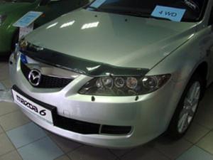 Mazda 6 2002-2007 - Дефлектор капота (мухобойка), темный. (SIM) фото, цена