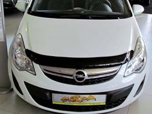 Opel Corsa 2006-2013 - Дефлектор капота (мухобойка), темный. (SIM) фото, цена