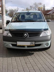 Renault Logan 2005-2012 - Дефлектор капота (мухобойка), темный. (SIM) фото, цена