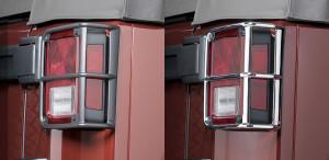 Jeep Wrangler 2007-2015 -  Хромированная защита задних фонарей  к-т 2 шт. Алюминий. (Хром/чёрный). фото, цена