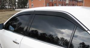 Toyota Camry 2011-2016 - Дефлекторы окон (ветровики), темные, с хром молдингом, комплект 4 шт. (BGT) фото, цена