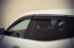 Hyundai Santa Fe 2013-2017 - Дефлекторы окон (ветровики), темные, с хромированым молдингом, комплект 4 шт. (Sun vision) фото, цена