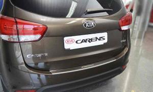 Kia Carens 2007-2011 - Накладка на задний бампер с загибом, нерж. (Nataniko) фото, цена