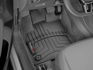 Volkswagen Touran 2017-2019 - Коврики резиновые с бортиком, передние, черные (WeatherTech) фото, цена