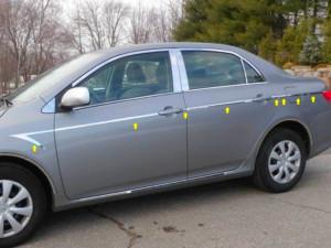 Toyota Corolla 2009-2010 - Хромированные накладки на двери и крылья к-т 14 шт. фото, цена