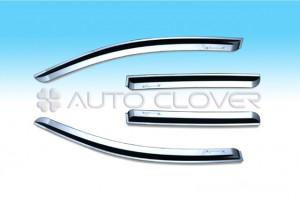 Chevrolet Aveo 2008-2010 - Дефлекторы окон (ветровики), хромированные, комлект. (Clover) фото, цена
