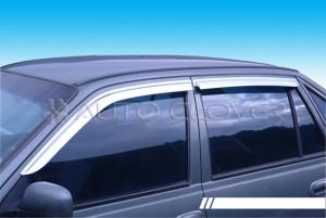Daewoo Nexia 1996-2010 - Дефлекторы окон (ветровики), хромированные, комлект. (Clover) фото, цена