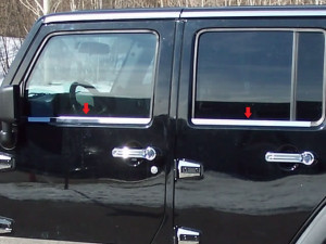 Jeep Wrangler 2007-2015 - Хромированные накладки на оконный уплотнитель   к-т 4 шт. фото, цена