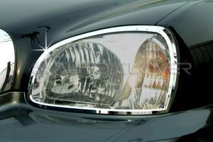Hyundai Santa Fe 2000-2006 - Хромированные накладки на фары. фото, цена